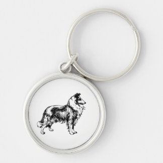 Collie rough dog beautiful illustration keychain