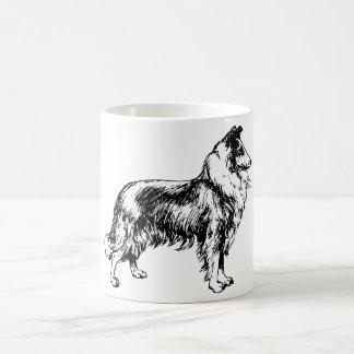collie rough dog line art coffe, tea mug, gift magic mug