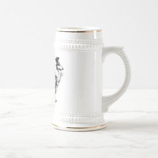 collie rough dog line art stein, tankard, gift mugs