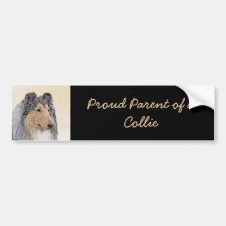 Collie (Rough) Painting - Cute Original Dog Art Bumper Sticker