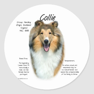 Collie (sable rough) History Design Classic Round Sticker