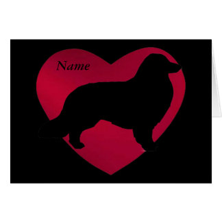 Collie Silhouette in Red Heart Card