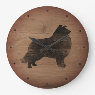 Collie Silhouette Rustic Style Large Clock