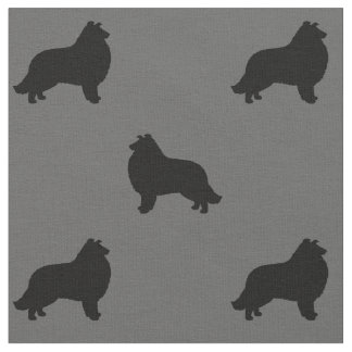 Collie Silhouettes Pattern Fabric