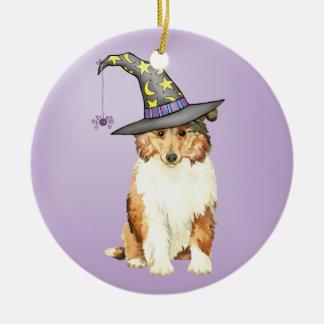 Collie Witch Ceramic Ornament