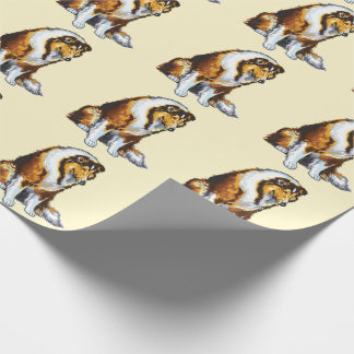 collie wrapping paper