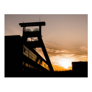 Colliery in the sunset postcard