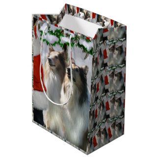 Collies and Santa Christmas Medium Gift Bag