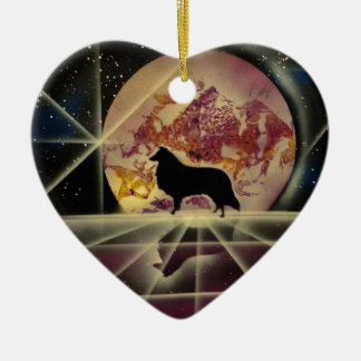Collie's Crystal Lake Ceramic Heart Decoration