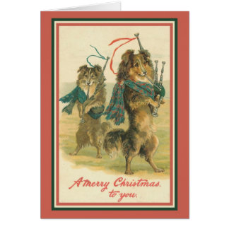 Collies Playing Bagpipes Card
