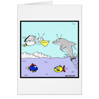 Collision: Dolphin and Pelican Cartoon Card