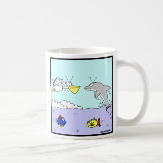 Collision: Dolphin and Pelican Cartoon Coffee Mug