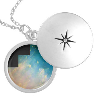 Collision of Gases Near a Dying Star in the Helix Round Locket Necklace