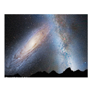 Collision of milky way and Andromeda Postcard