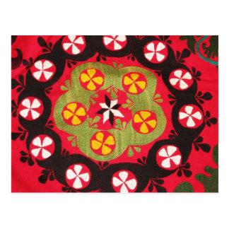 Coloful Antique Tribal  Turkish Textiles Postcard