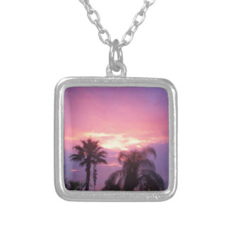 Coloful Florida Sunset Silver Plated Necklace