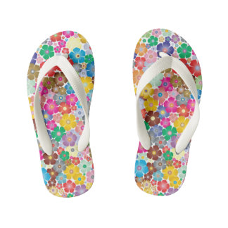 Coloful Flowers Pair of Flip Flops Thongs
