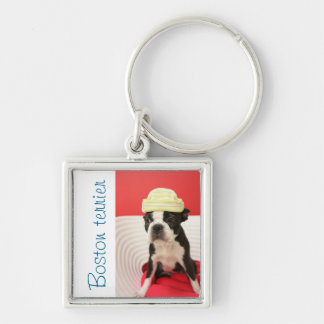 Cologalita with hat Silver-Colored square key ring