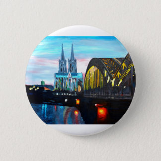 Cologne Cathedral with Hohenzollernbridge 6 Cm Round Badge