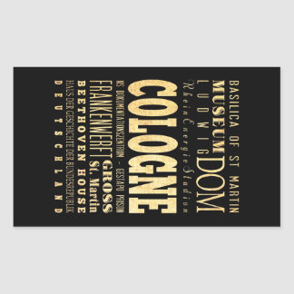 Cologne City of Germany Typography City Art Rectangular Sticker