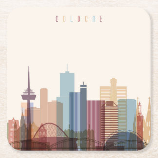 Cologne, Germany | City Skyline Square Paper Coaster