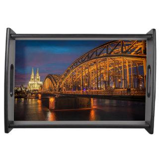 Cologne Germany Hohenzollern Bridge at night Serving Tray