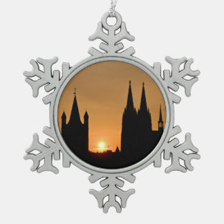 Cologne, Germany sunrise Snowflake Pewter Christmas Ornament