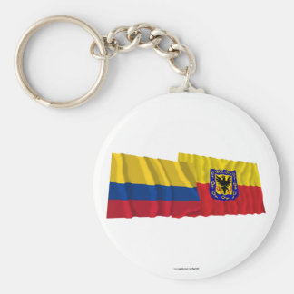 Colombia and Distrito Capital Waving Flags Keychains