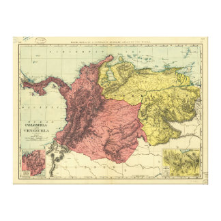Colombia and Venezuela Map (1898) Canvas Print