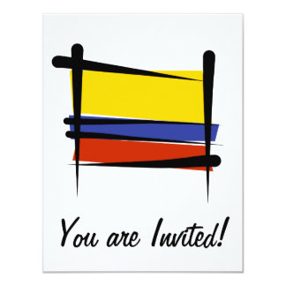 Colombia Brush Flag 11 Cm X 14 Cm Invitation Card