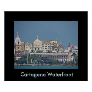 Colombia-Cartagena Waterfront - Customizable Text Poster