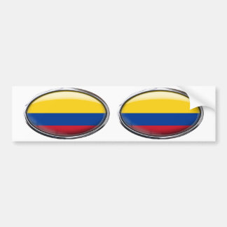 Colombia Flag Glass Oval Bumper Sticker