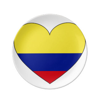 Colombia Flag Heart Plate