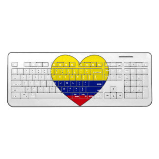 Colombia Flag Heart Wireless Keyboard