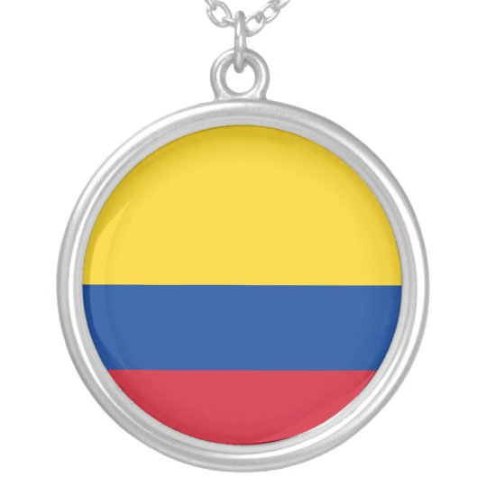 Colombia Flag Silver Plated Necklace