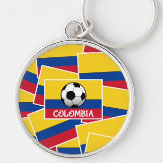 Colombia Football Silver-Colored Round Keychain