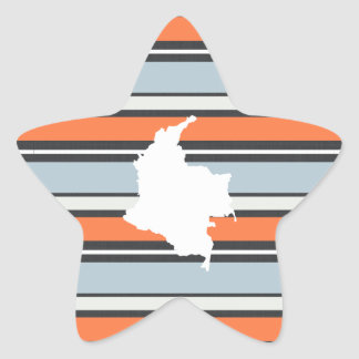 Colombia Map: Modern Stripes Star Sticker
