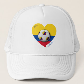 Colombia Nacional Soccer 2014 Ball and Heart Trucker Hat
