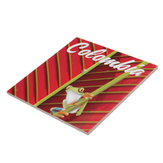 Colombia tree frog travel poster ceramic tile