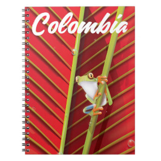 Colombia tree frog travel poster notebooks