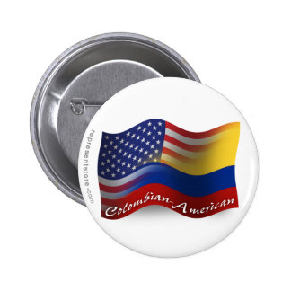 Colombian-American Waving Flag 6 Cm Round Badge