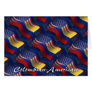Colombian-American Waving Flag Greeting Card