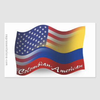 Colombian-American Waving Flag Rectangular Sticker