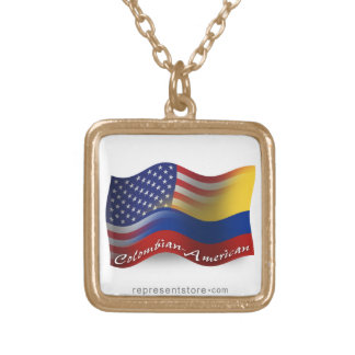 Colombian-American Waving Flag Square Pendant Necklace