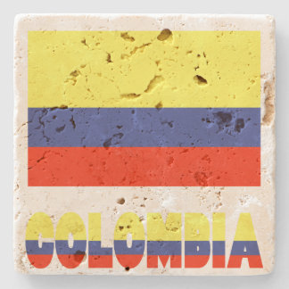 Colombian Flag and Colombian Stone Coaster