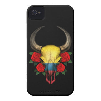 Colombian Flag Bull Skull with Red Roses iPhone 4 Cover