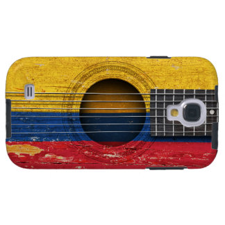 Colombian Flag on Old Acoustic Guitar Galaxy S4 Case
