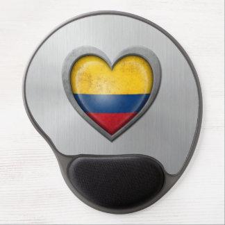Colombian Heart Flag Stainless Steel Effect Gel Mousepads
