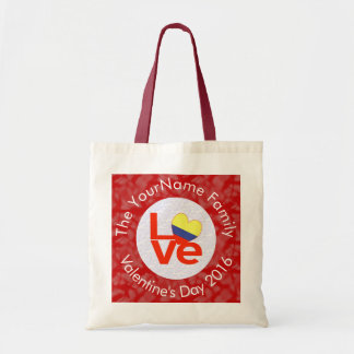 Colombian LOVE White on Red Tote Bag