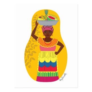 Colombian Palenquera Cartagena Matryoshka Postcard
